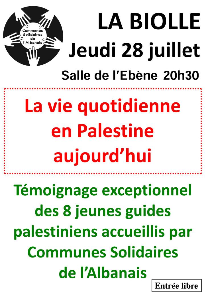 La vie quotidienne en Palestine aujourd'hui Témoignage exceptionnel des 8 jeunes guides palestiniens accueillis par Communes Solidaires de l'Albanais